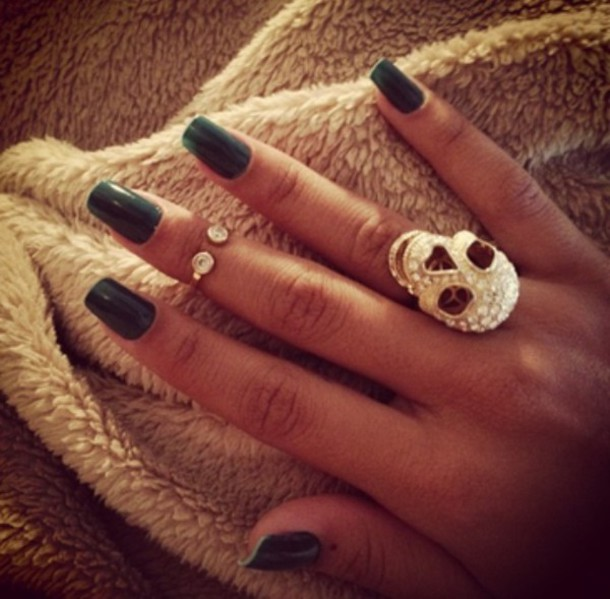 jewels, black, ring, skull, skull, knuckle ring, nail polish, nails ...
