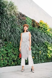 olivia lazuardy,blogger,hat,dress,bag,shoes,dress over pants,white pants,spring outfits,pumps