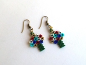 jewels,seed beads earrings,tree of life earrings,multicolor,beaded earrings,etsy,tree of life,peyote,spring jewelry,minimalist earrings