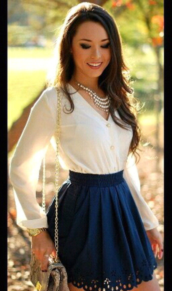 top blouse blue skirt white top