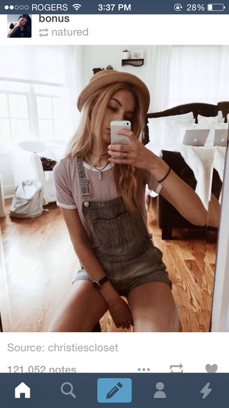 jumpsuit jeans shorts tshrt girl hat fashion cute jumpsuits want want want! where did u get that overalls overalls cute summer t-shirt