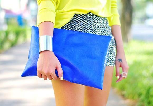 jewels ring blouse bracelets bag clutch skirt
