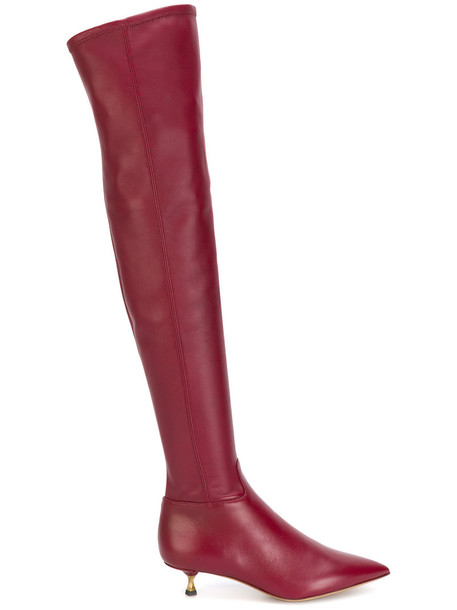 Valentino women pointed toe boots leather red shoes