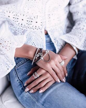 jewels tumblr bracelets silver bracelet jewelry silver jewelry ring silver ring stacked bracelets stacked jewelry denim jeans blue jeans accessories accessory