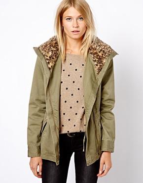 Oasis | Oasis Leopard Faux Fur Collar Jacket at ASOS