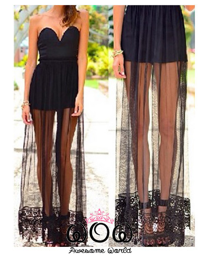 Платье короткое с длинной прозрачной юбкой