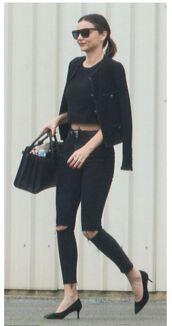 jeans,miranda kerr,ripped jeans,crop tops,jacket,all black everything,model off-duty