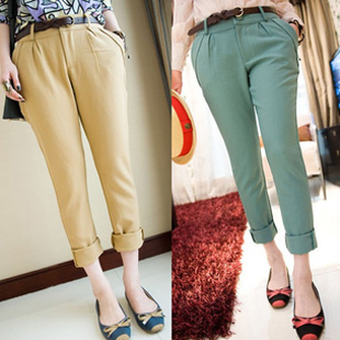 Harem pants plus size female 2013 OL outfit suit pants casual pants thin ankle length trousers female-inPants & Capris from Apparel & Accessories on Aliexpress.com