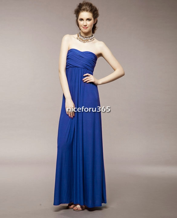 Ladies Strapless Bandeau Formal Maxi Long Dress Cocktail Party ...
