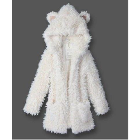 Fluffy bear ear hooded coat warm jacket