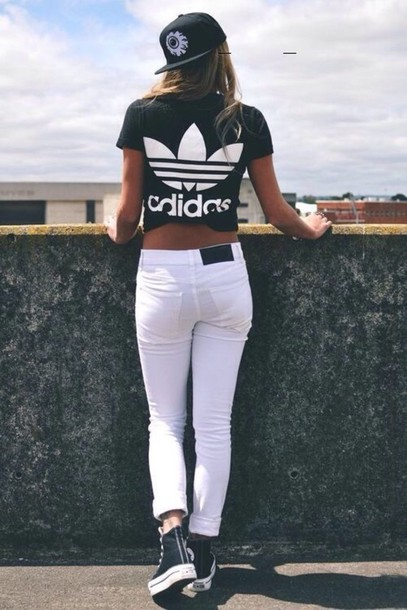 t-shirt adidas top tee shirt hipster grunge t-shirt black t-shirt jeans white