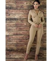 jumpsuit,mocha,tight,office outfits,back zipper,choker neck,buttons