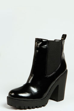 Izzy Patent Elastic Insert Pull On Boot at boohoo.com