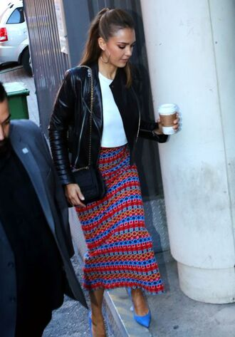 skirt pumps top jessica alba jacket spring outfits pencil skirt midi skirt stripes striped skirt