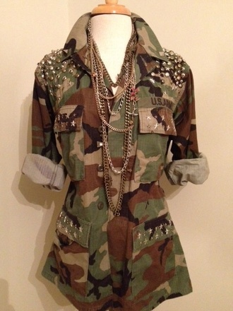 jacket camo jacket with studs and chains