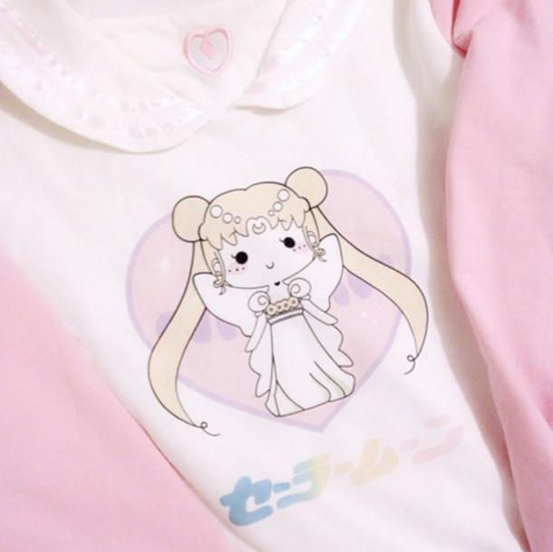 sweater japanese sailor moon pink cute kawaii shirt pastel peter pan collar collar graphic tee