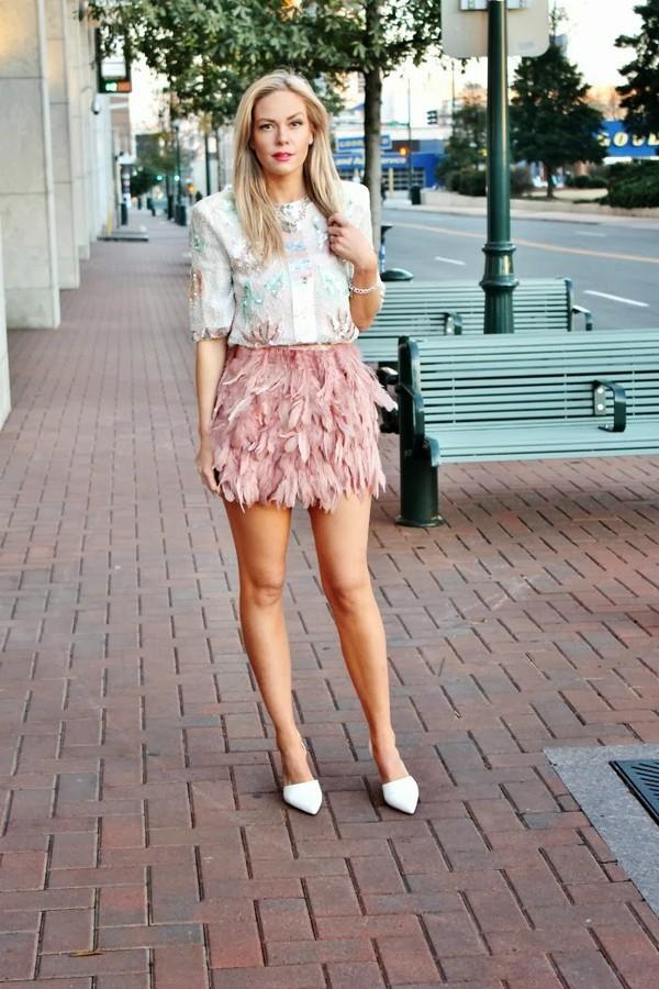 b soup t-shirt skirt jewels shoes sequin shirt sequins pink skirt feather skirt feathers heels white heels thanksgiving outfit