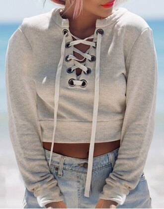sweater cropped grey fall outfits fashion style cute girly casual strappy criss cross winter outfits clothes adorable outfit sporty trendy lace up top