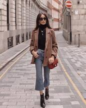 jacket,blazer,plaid blazer,ankle boots,heel boots,jeans,high waisted,black turtleneck top,chanel bag,gold necklace,gold earrings