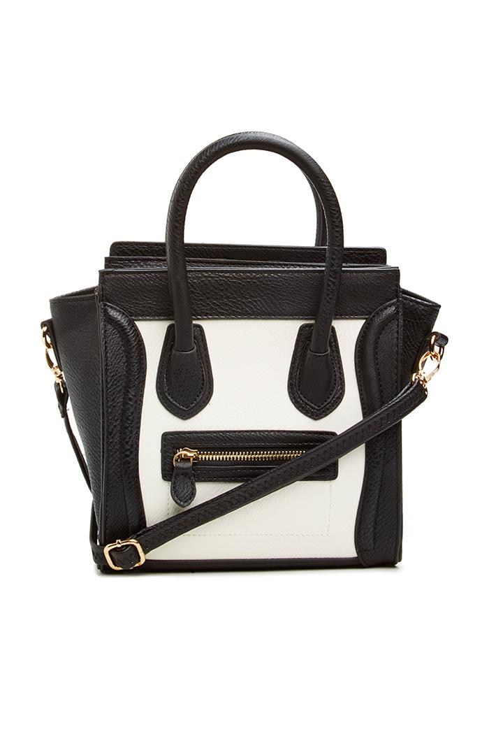 DAILYLOOK Mini Structured Handbag in Black / White | DAILYLOOK