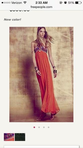 orange dress long prom dress unique dress vintage long hippie chic
