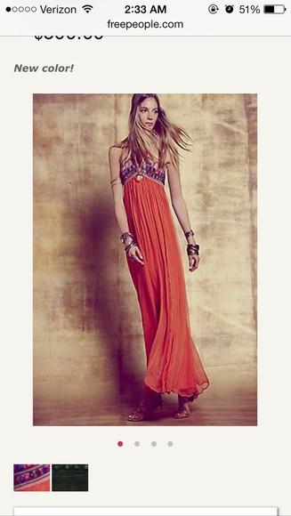 orange dress vintage long prom dresses unique unique dress long hippie chic