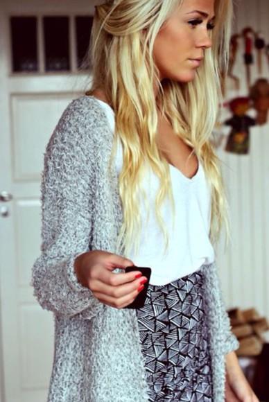 sweater jacket grey sweater white