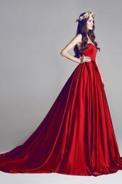 dress,red dress,satin dress,ball gown dress,wedding dress,long dress,beautiful,prom dress