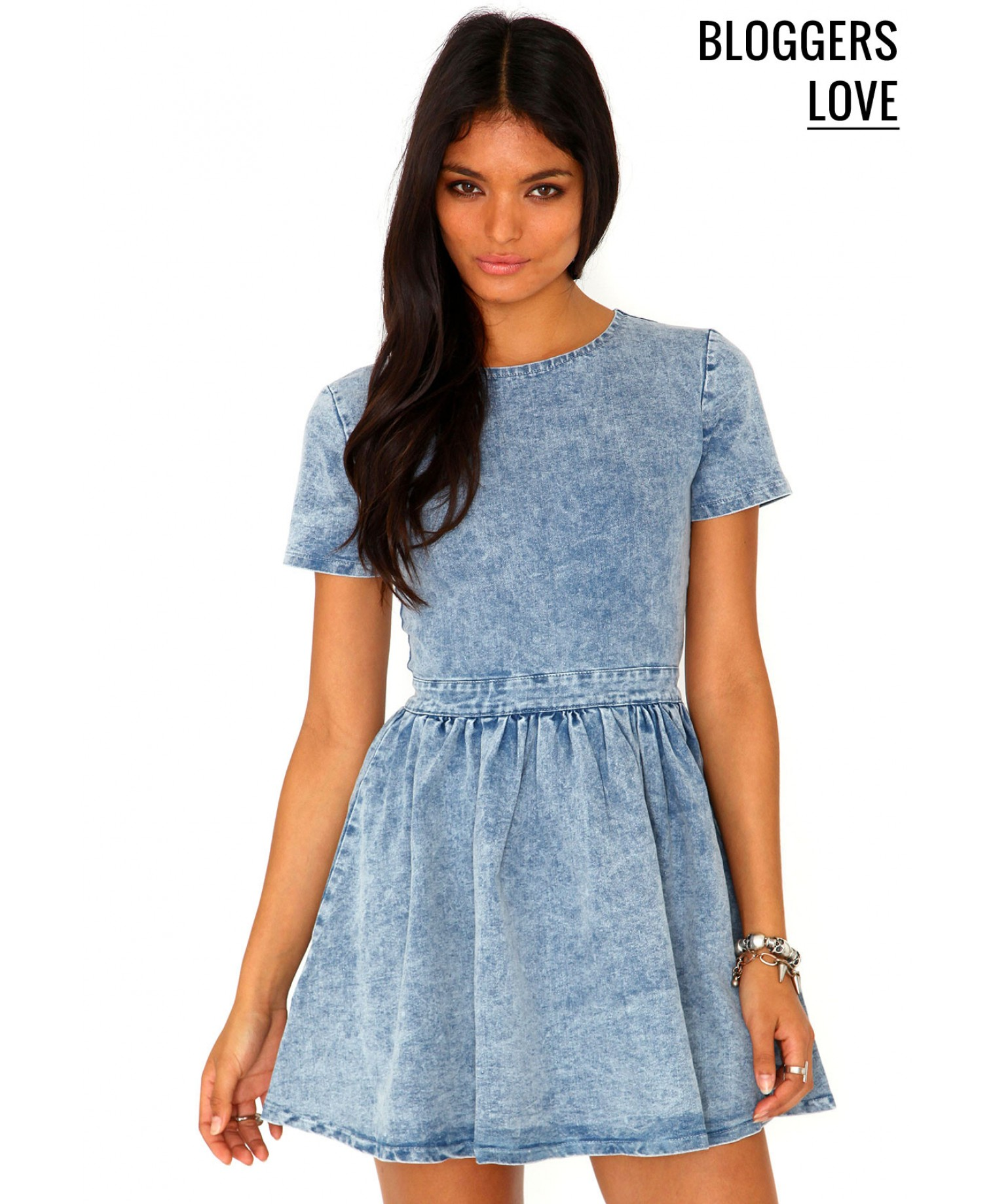 Missguided - Aggie Denim Skater Dress