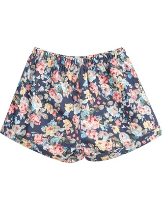 shorts flowered shorts elastic waist shorts navy pink white