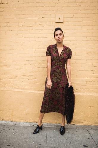 five friday faves (no. 9) blogger dress shoes midi dress fur scarf