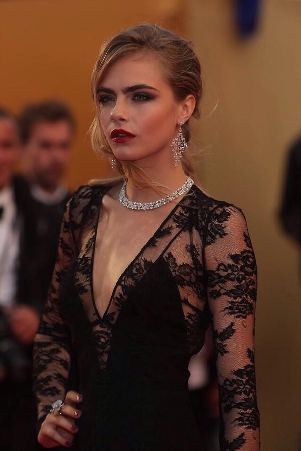 Dress: lace, black, black lace, black dress, little black dress ...