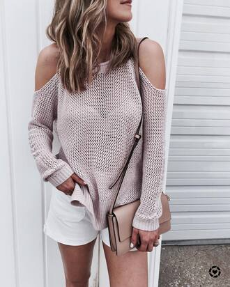 swimwear tumblr pink sweater cut-out shoulder top cut-out cut out shoulder shorts white shorts bag nude bag