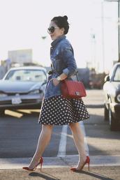 hallie daily,blogger,dress,sunglasses,belt,red heels,polka dots,denim jacket,red bag