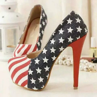 shoes high heels american flag red white blue denim