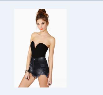 bodysuit black underwear bustier denim shorts jumpsuit