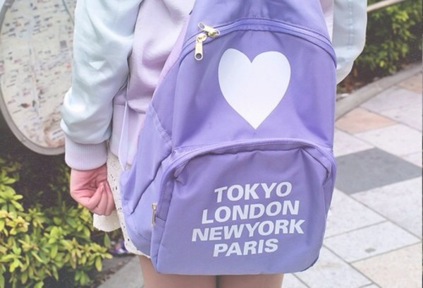 bag purple pale backpack