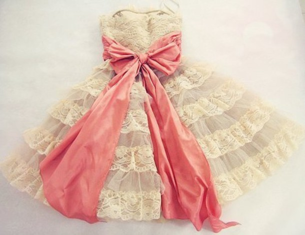 dress ruffles vintage lace white strapless grey pink bow cute bows pretty cute dress