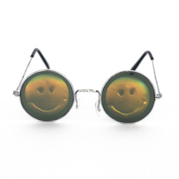 Smiley Face Holographic Hologram Smile Lennon Sunglasses eyewear ying yang 90s nineties on Wanelo