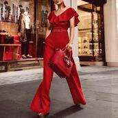 jumpsuit,fashion,red jumpsuits,sexy red jumpsuit