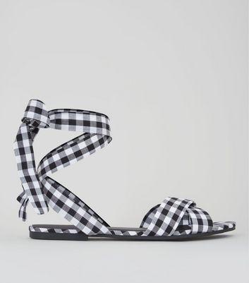 Black Gingham Ankle Tie Sandals