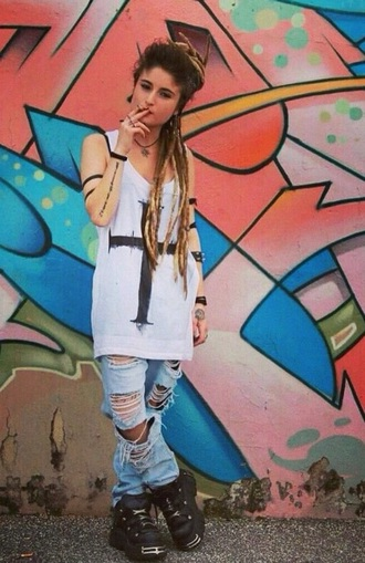 jeans ripped jeans rasta dreads style