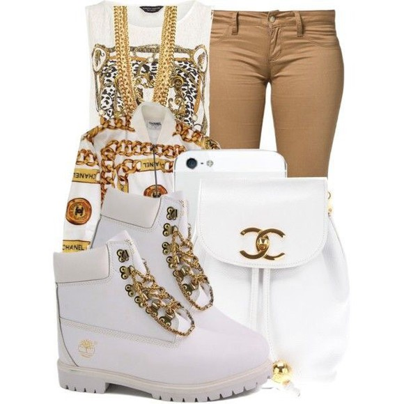 backpack jacket white and gold channel