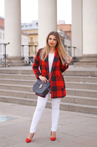 a piece of anna blogger bag coat pants blouse jewels shoes