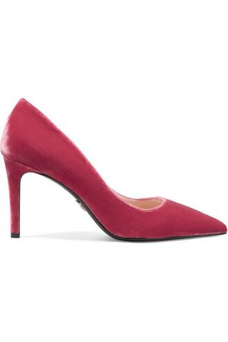 pumps velvet pink shoes