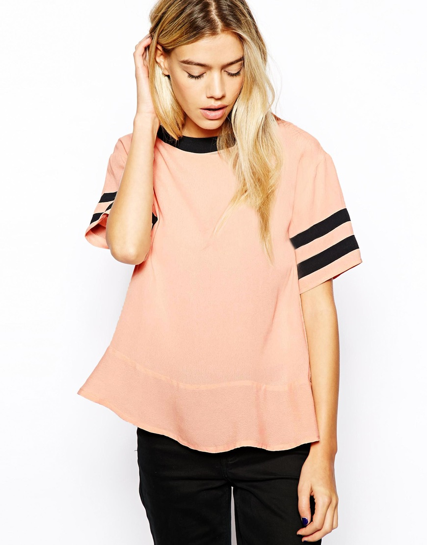 Influence Boxy Top With Striped Sleeves at asos.com