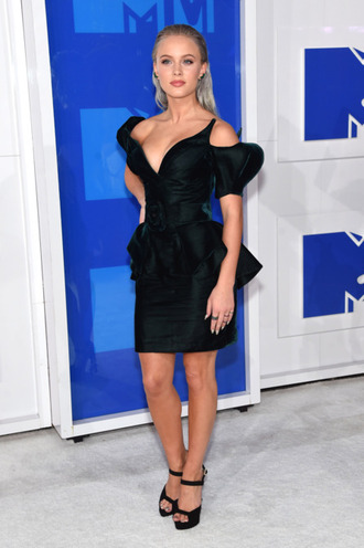 dress vma zara larsson celebrity mini dress short dress ruffle ruffle dress black dress off the shoulder off the shoulder dress v neck dress sandals sandal heels high heel sandals black sandals all black everything