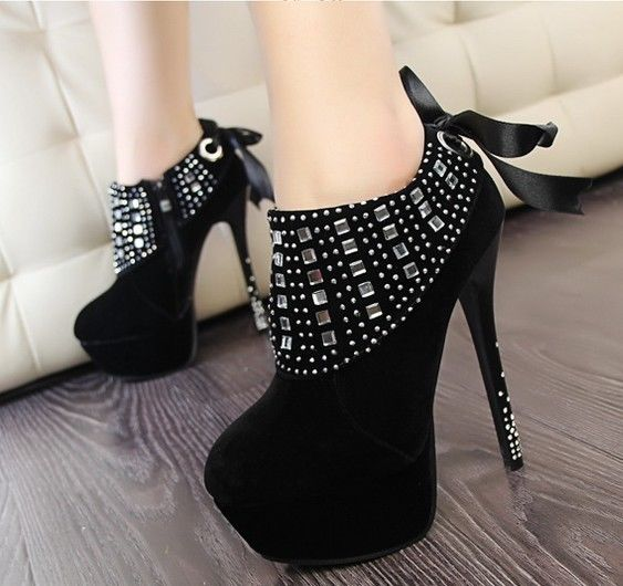 Sexy High Heel Shoes Platform Studded Ankle Boots Stiletto Pumps ...