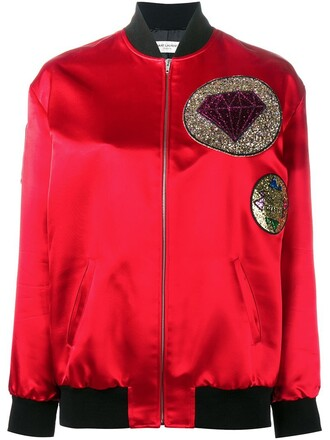 jacket bomber jacket women cotton silk wool red