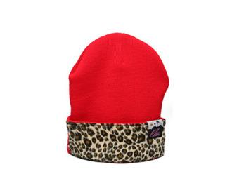 hat leopard print red beenie
